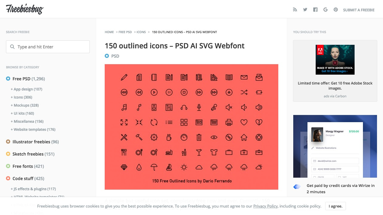 150 outlined iconsさんのwebサイトスクリーンショット@complesso.jp