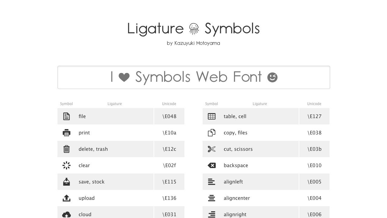 Ligature kudakurage Symbolsさんのwebサイトスクリーンショット@complesso.jp