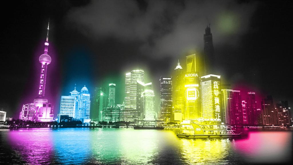 Photoshopで夜景を虹色に輝いている風に加工する方法