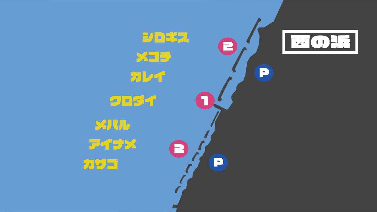 西の浜の釣り場情報
