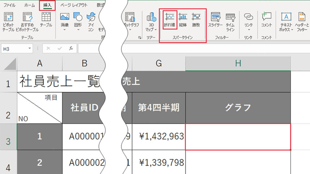 スパークラインで表の中にグラフを表示させる|Excel(エクセル)の使い方 vol.085